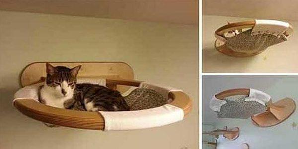 Настенный гамак — удобно и безопасно (для котов и кошек)