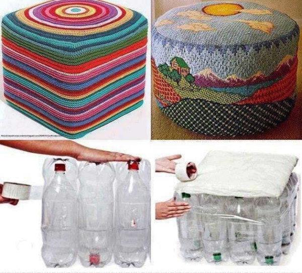 Банкетка из пластиковых бутылок: круглая и квадратная