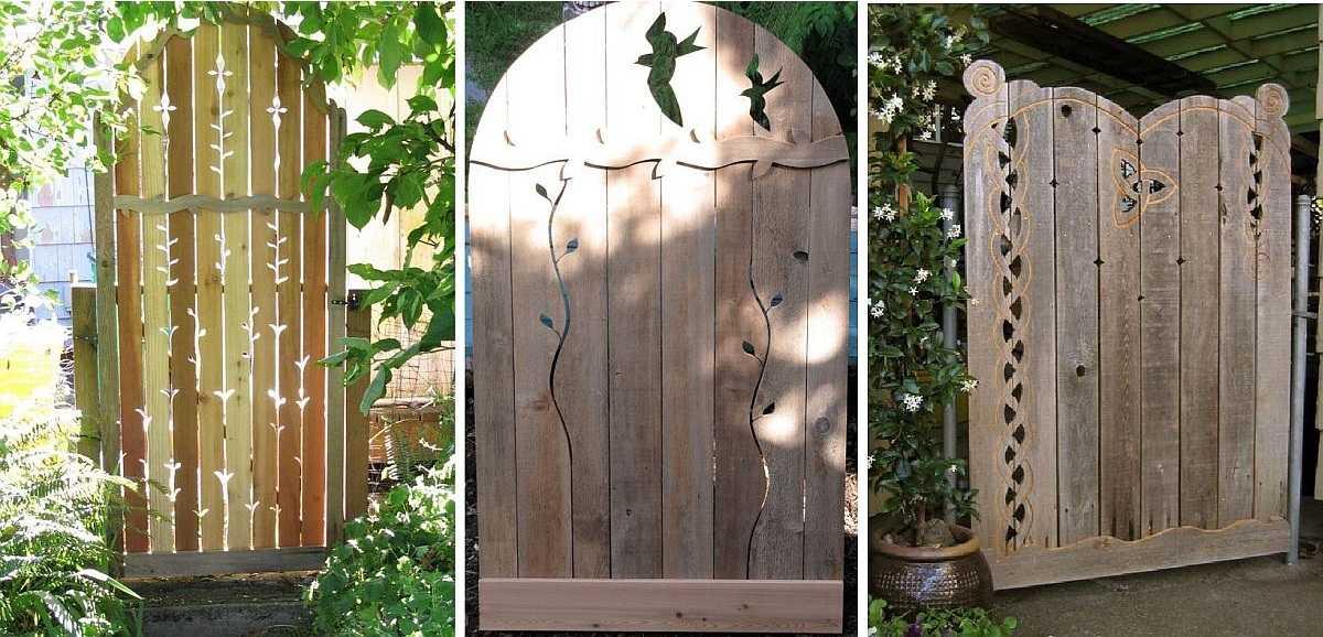 Дачные ворота из дерева своими руками 86