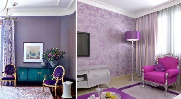 В гостиной можно использовать как основной (для стен, текстиля и т.д.) фиолетовый или пастельный светлых оттенков
