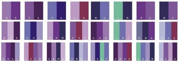 Классические сочетания фиолетового с другими цветами