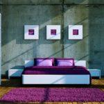 Фиолетовый цвет в спальне стиля минимализм