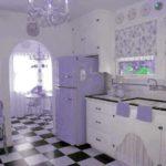 Нежный сиреневый с белым создают очень уютную атмосферу на кухне