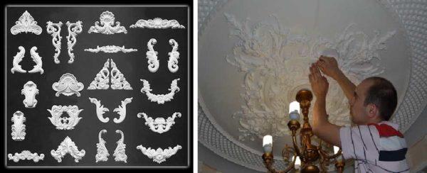 Вот такими мелкими деталями можно разнообразить лепной декор