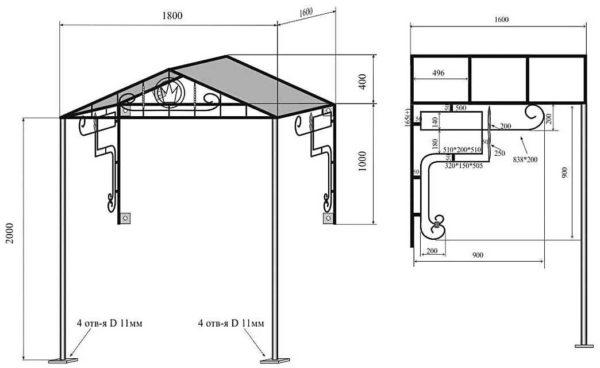 Красивый двускатный навес над входом, из стальной трубы с фигурными упорами и столбами (схема с размерами)
