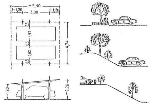 Размеры парковок: эта картинка из СНиП (строительные нормы и правила)