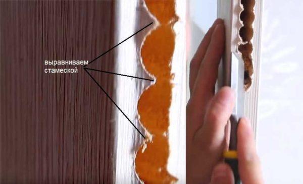 Края получились неровные, убираем торчащие волокна при помощи стамески