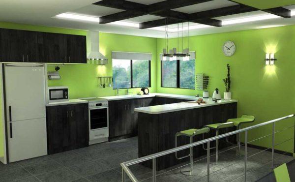 Зеленые стены на кухне - можно реально ощутить насколько вам понравится