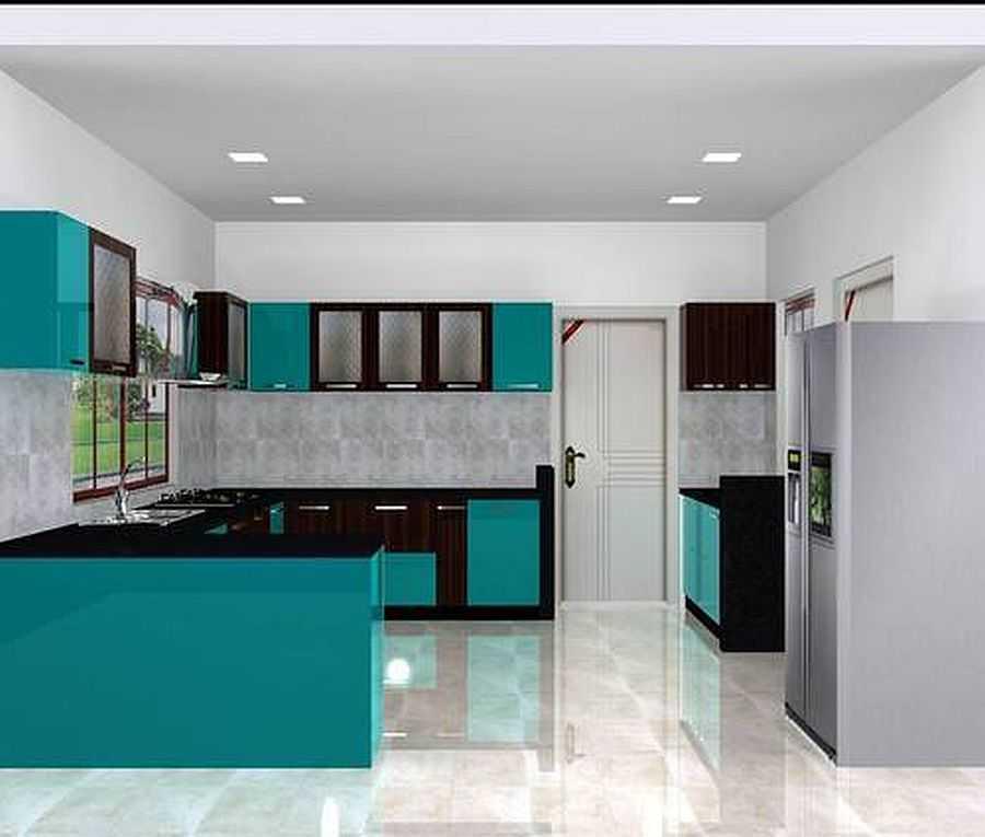 Colourful Modular Kitchen Design: Кухня в зеленых тонах: сочетания, шторы, обои, плитка