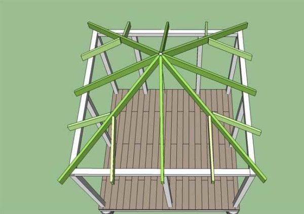 Схема стропильной системы шатровой крыши для беседки