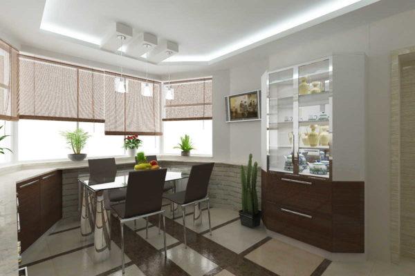 Повесить горизонтальные жалюзи на окнах эркера в кухне - удобно и функционально