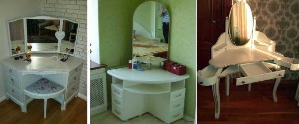 Угловые столики для косметики с зеркалом