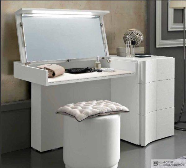 Трансформируемый туалетный столик с зеркалом с подсветкой: подъемный механизм для крышки - мебельные лифты