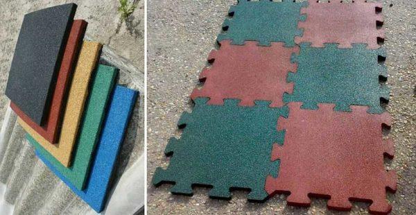 Плитка из резиновой крошки для детских площадок