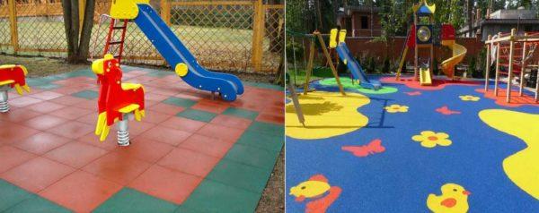 Так может выглядеть резиновое покрытие для детских площадок