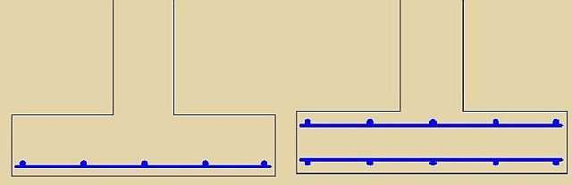 Два способа армирования подошвы ленточного фундамента: слева для оснований с нормальной несущей способностью, справа - для не очень надежных грунтов