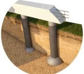 Свайный фундамент по технологии ТИСЭ имеет куполообразное утолщение в основании каждой опоры