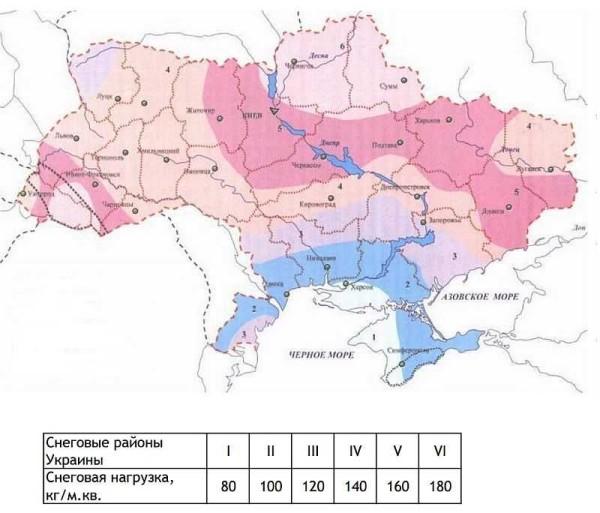 Снеговые нагрузки по Украине