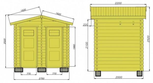 Вид и размеры туалет+душ спереди и сбоку