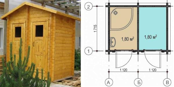 Вариант комбинированного туалета для дачи душем
