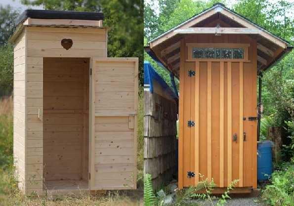 Образцы дачных туалетов: чертежи одинаковые, исполнение разное