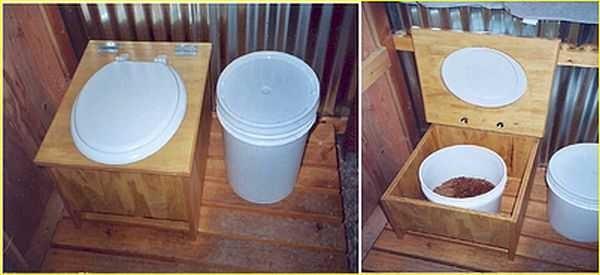 Так выглядит самый простой пудр-клозет или торфяной туалет. Построить его самостоятельно - совсем простая задача