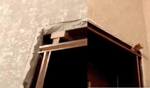 Установив все части откоса из МДФ, вверху ставят клинышки