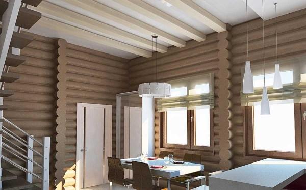 Внутренняя отделка дома из оцилиндрованного бревна в современном стиле. Сочетание светлых балок с необычным цветом стен, обилие света - интересный результат