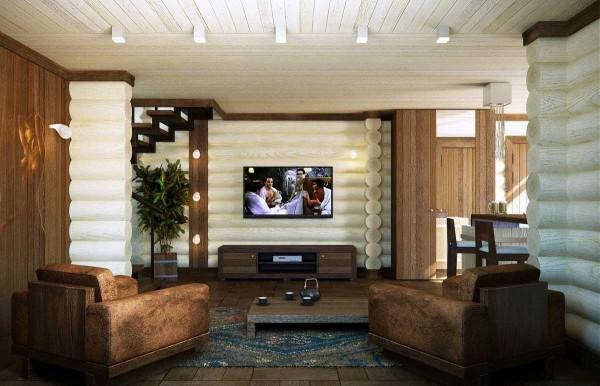 Изюминкой этого оформления является контраст между светлыми бревнами и коричневым цветом мебели и некоторых других элементов