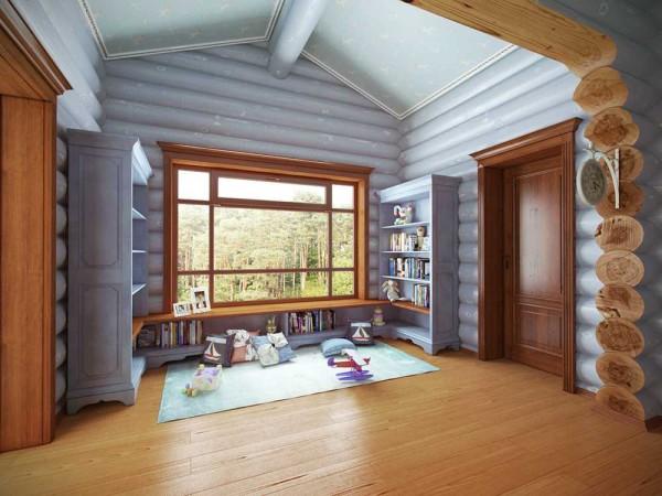 Удивительный эффект дает голубой цвет: чем не небо, а широкое окно заливает светом игровую зону