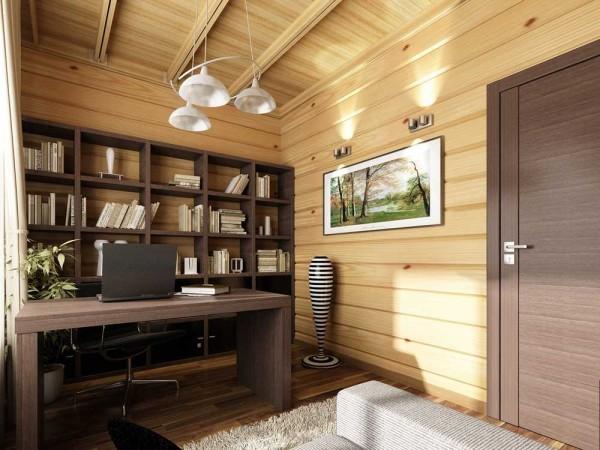 Еще один вариант рабочей зоны в деревянном доме