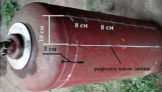Разметка газового баллона для мангала