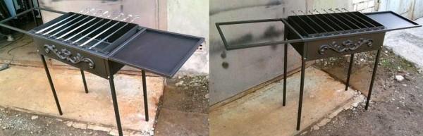 Самодельный мангал из металла с опциями: столиком и подставкой для шампуров