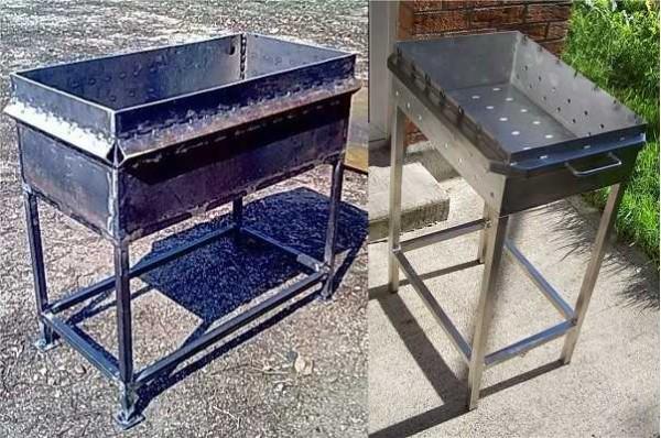 Эти мангалы из металла сделаны на каркасе