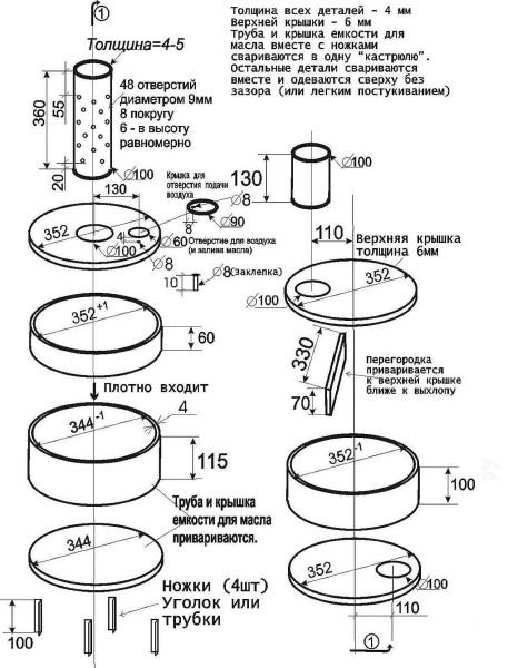 Схема печи на отработанном масле с размерами - все, что нужно для того чтобы сделать ее самостоятельно