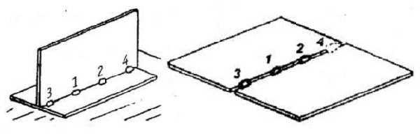 Технология электросварки: перед началом наложения шва, детали соединяют прихватками - короткими швами, расположенными на расстоянии 80-250 мм друг от друга