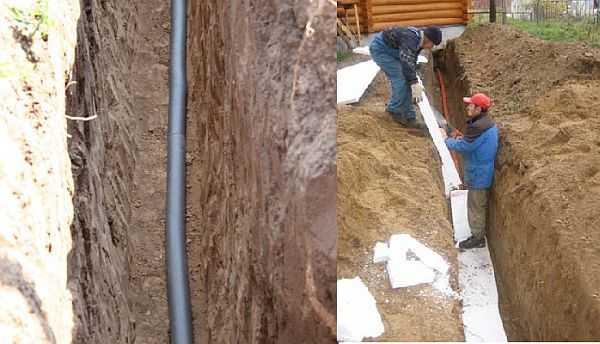 Даже если канаву выкопали ниже уровня промерзания, лучше трубы все-таки утеплить