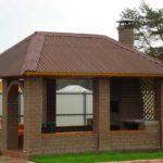 Прямоугольная беседка с мангалом под одной крышей