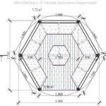 Чертеж шестигранной беседки - вид сверху
