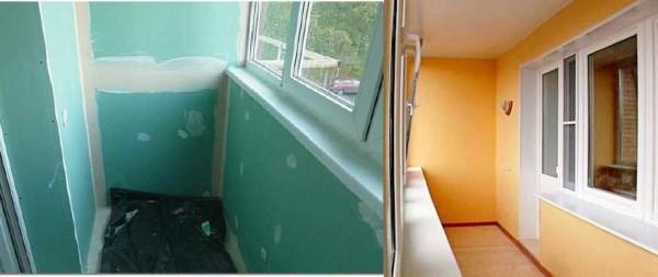 Еще один вариант обшивка балкона - гипсокартоном