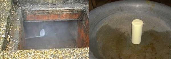 Серную шашку ставят на металл, поджигают, быстро выходят и закрывают все отверстия