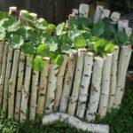 Березовые полешки - отличная получилась ограда для цветника