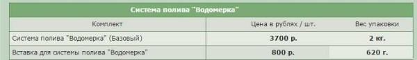 """Комплект для капельного полива """"Водомерка"""" - цена и вес"""