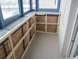 Пример обрешетки балкона под вагонку