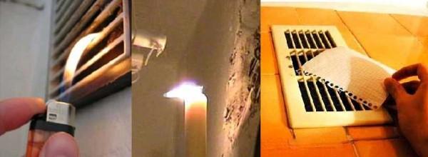 Насколько работоспособна вентиляция в ванной комнате и туалете проверяется при помощи пламени или листка бумаги