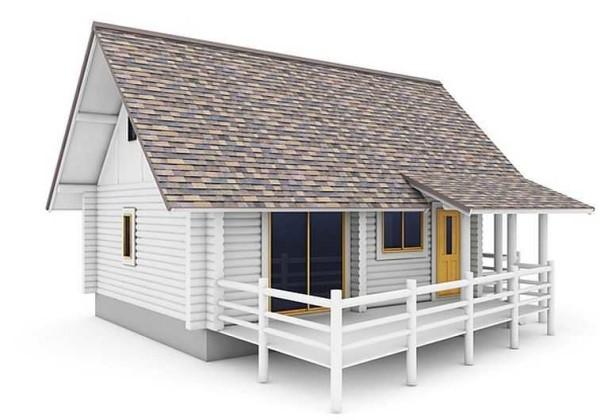 В этом проекте дом стоит на ленточном фундаменте, веранда для снижения стоимости на свайном