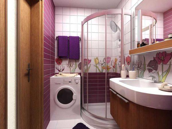 Иногда удается даже в маленькую ванную комнату поставить стиральную машинку