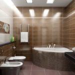 Большие потолочный светильники необходимы при использовании темных цветов в оформлении: в коричневой ванной комнате необходимо много света