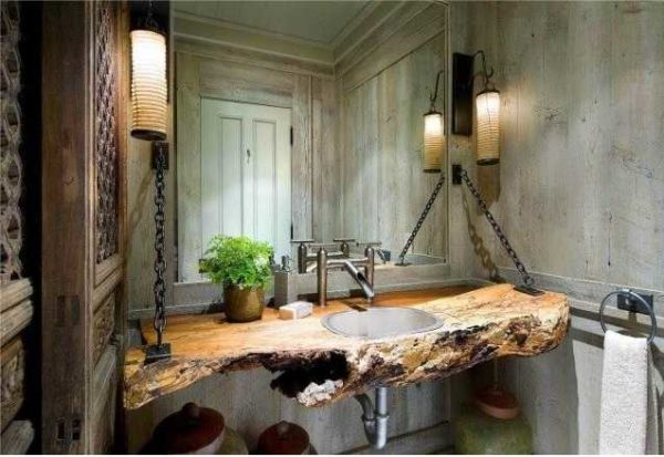 Эта ванная по стилистике на стыке лофт и эко