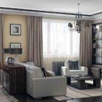 Интерьер зала в классическом стиле с комбинированными обоями